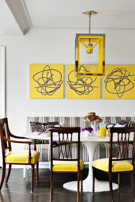 Osvežavajuće trpezarije u sivom i žutom koloru