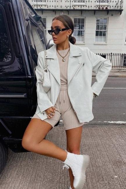 Atraktivne prolećne kombinacije uz bele kožne jakne